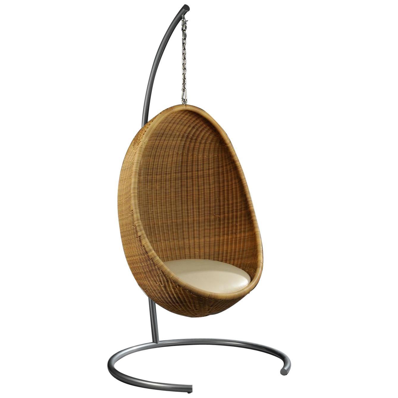 1950s Nanna & Jorgen Ditzel Design Hanging Rattan Egg Chair