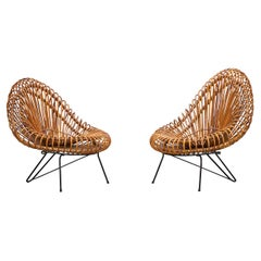 1950s Natural Basket Lounge Chairs by Janine Abraham and Dirk Jan Rol 'e'
