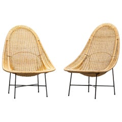 1950s Natural Basket Lounge Chairs by Kerstin Holmquist