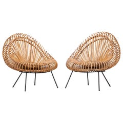 1950s Natural Basket on Steel Lounge Chairs by Janine Abraham and Dirk Jan Rol