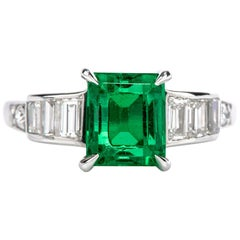 1950s Natural No Oil Colombian Emerald Vintage Diamond Step Cut Platinum Ring