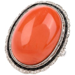 1950s Natural Red Coral Diamond Onyx Platinum Cocktail Ring