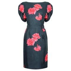 1950s Navy and Pink Silk Rose Print Dress