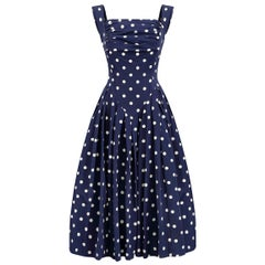 1950s Navy And White Polkadot Couture Dress With Structured Bodice