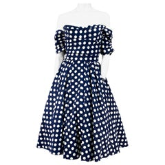 1950s Navy and White Polkadot Summer Party Dress