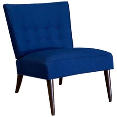 1950s Navy Blue Boucle Slipper Chair