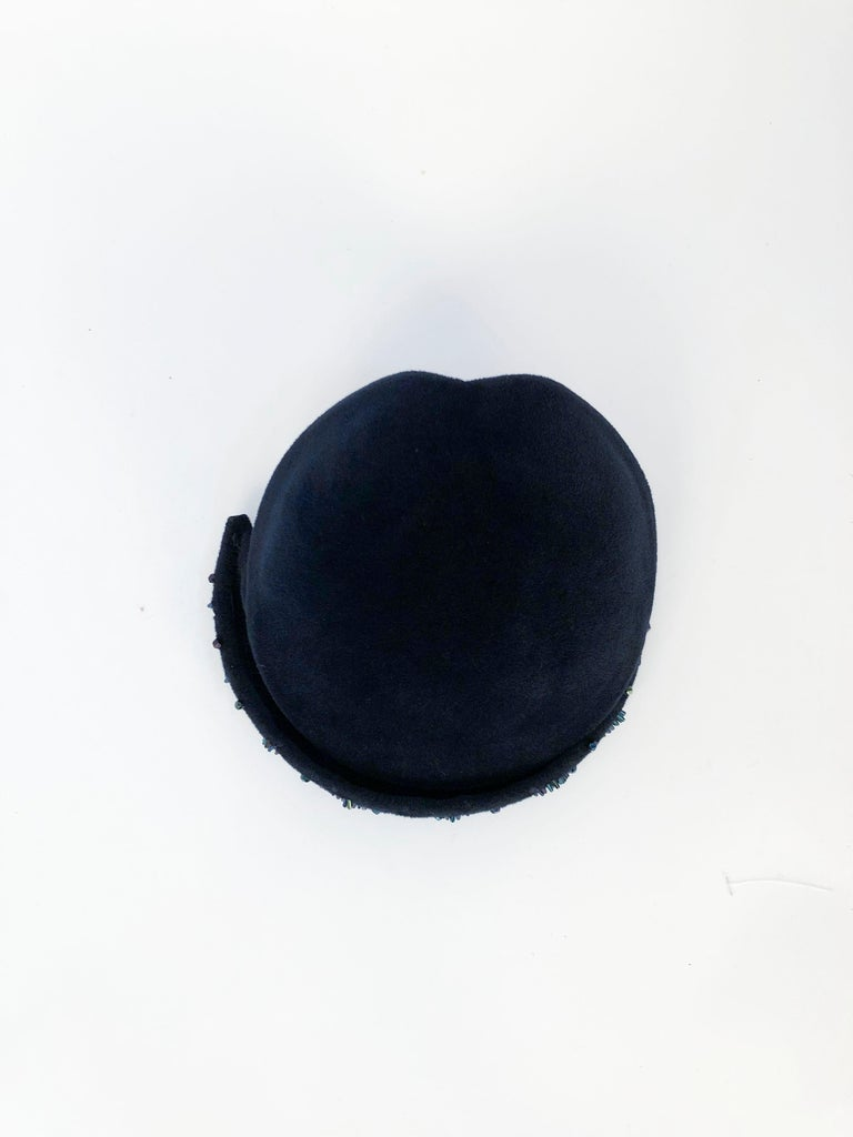 Gray 1950's Navy Blue Cashmere Felt Hat with Hand Beading Decoration For Sale