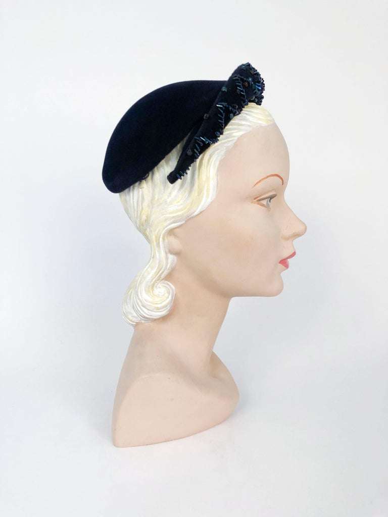 Women's 1950's Navy Blue Cashmere Felt Hat with Hand Beading Decoration For Sale