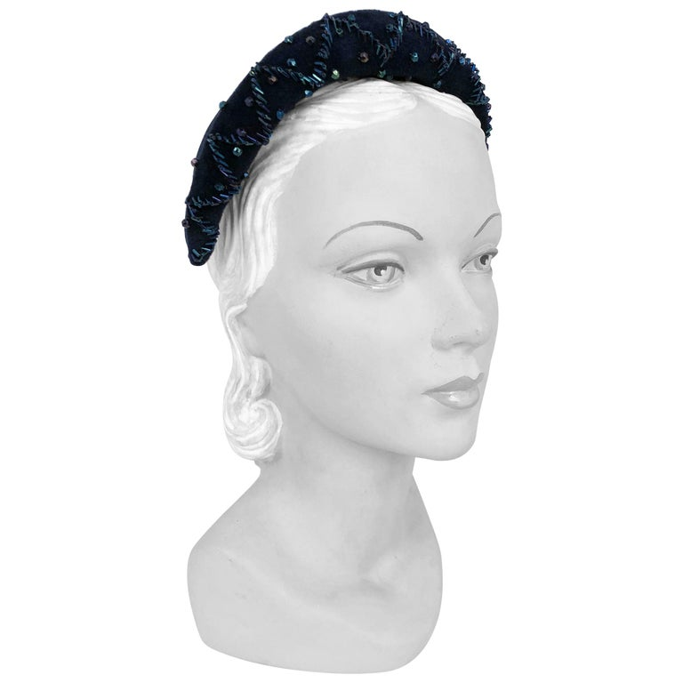1950's Navy Blue Cashmere Felt Hat with Hand Beading Decoration For Sale