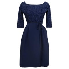 1950s Navy Blue Cocktail Dress with Ribbon Embroidery
