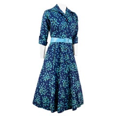 1950s Navy Blue Floral Printed Dress
