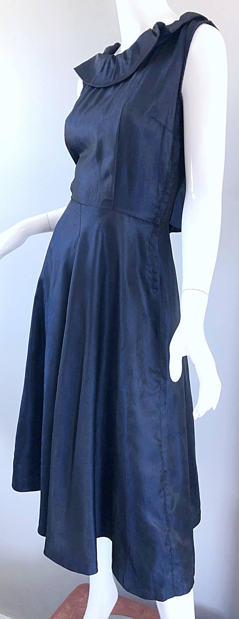 1950s Navy Midnight Blue Fit n ' Flare Vintage 50s Demi Couture Silk Dress For Sale 6