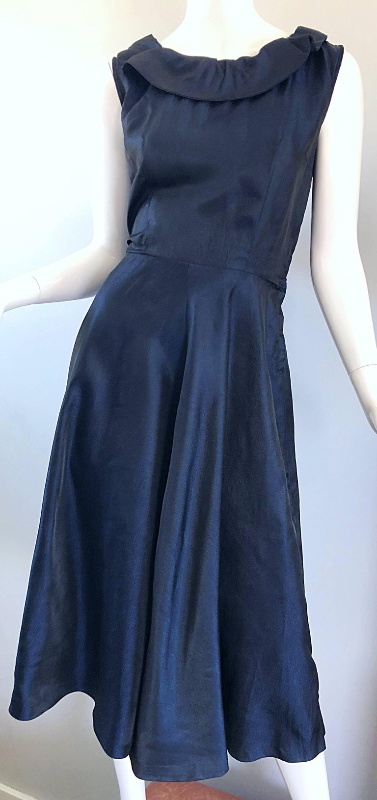 1950s Navy Midnight Blue Fit n ' Flare Vintage 50s Demi Couture Silk Dress For Sale 7