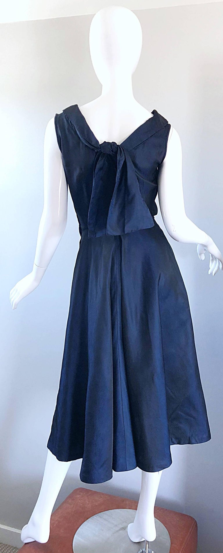 1950s Navy Midnight Blue Fit n ' Flare Vintage 50s Demi Couture Silk Dress For Sale 8