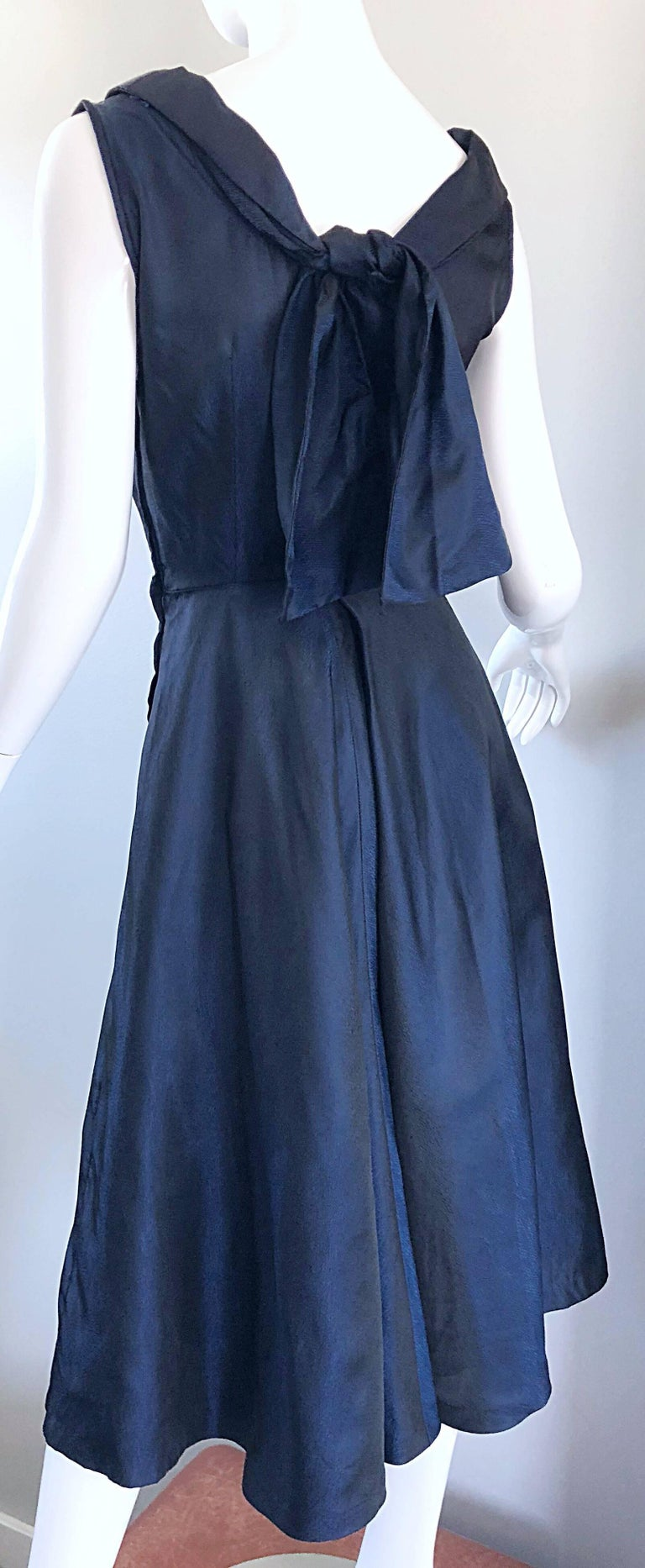 1950s Navy Midnight Blue Fit n ' Flare Vintage 50s Demi Couture Silk Dress For Sale 10