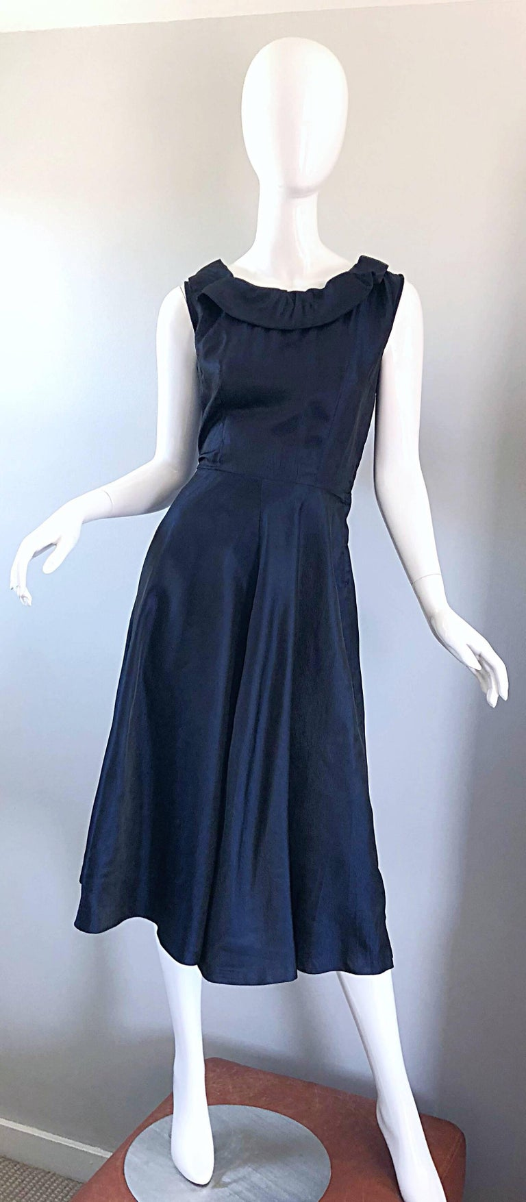 1950s Navy Midnight Blue Fit n ' Flare Vintage 50s Demi Couture Silk Dress For Sale 11