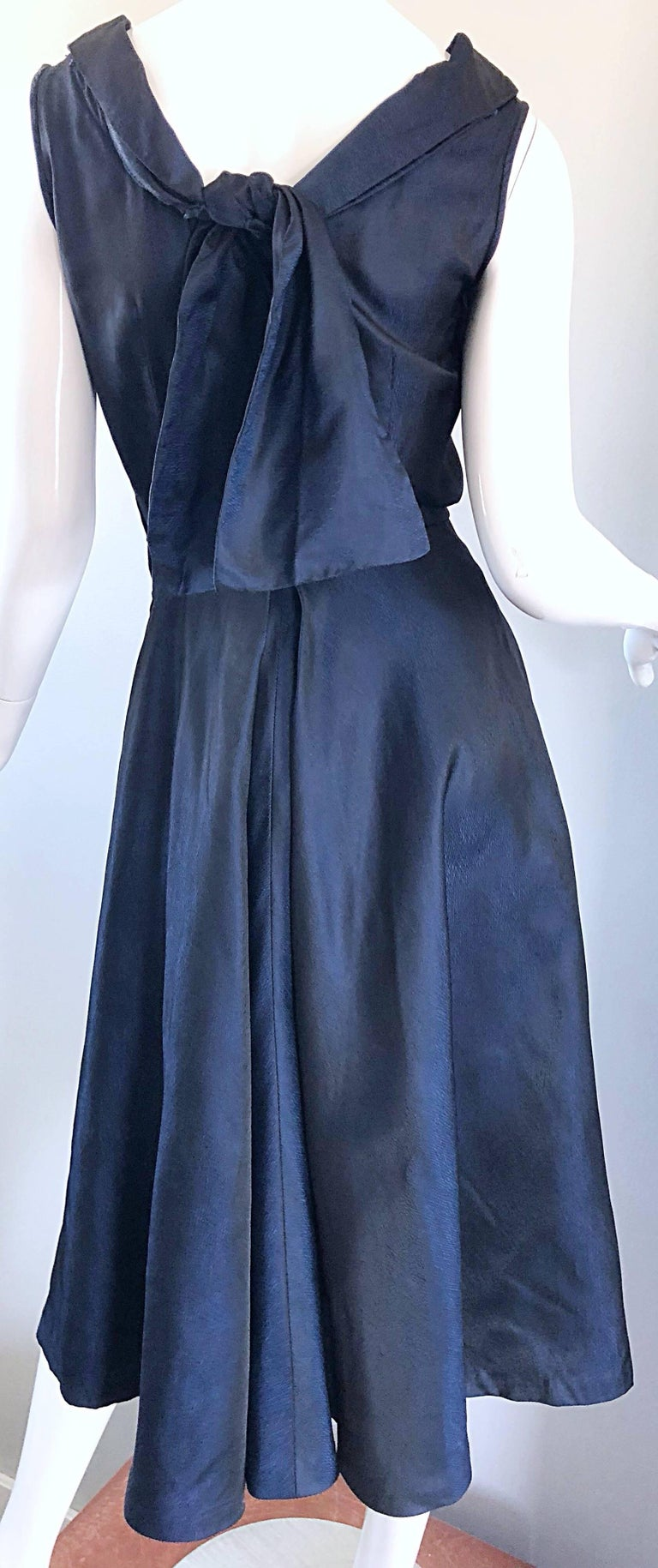 1950s Navy Midnight Blue Fit n ' Flare Vintage 50s Demi Couture Silk Dress In Excellent Condition For Sale In Chicago, IL