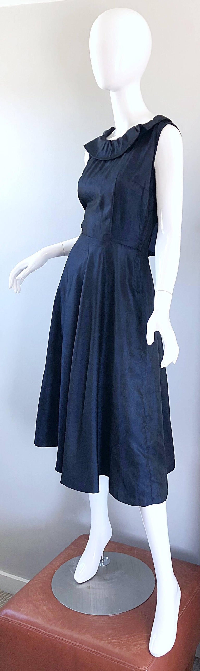 Women's 1950s Navy Midnight Blue Fit n ' Flare Vintage 50s Demi Couture Silk Dress For Sale