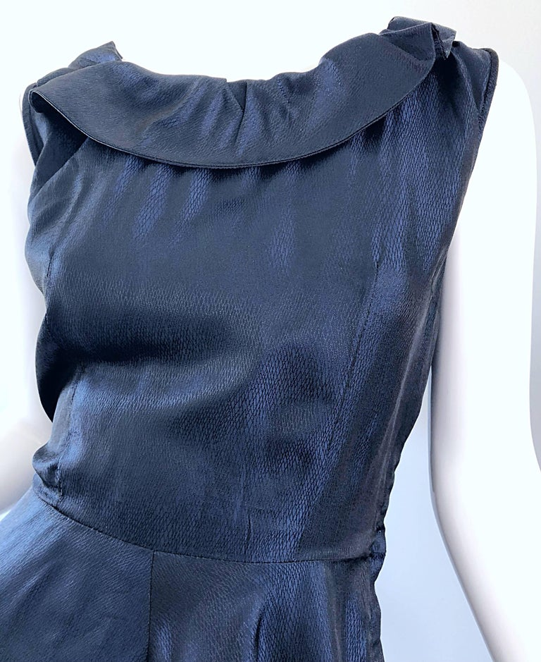 1950s Navy Midnight Blue Fit n ' Flare Vintage 50s Demi Couture Silk Dress For Sale 1
