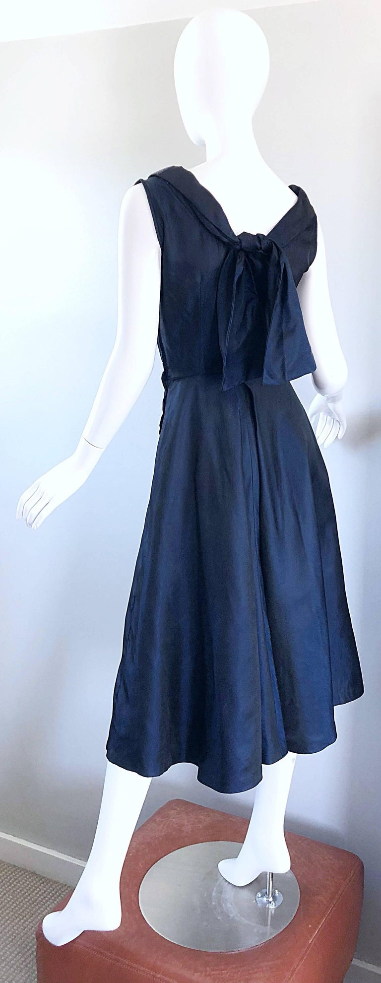 1950s Navy Midnight Blue Fit n ' Flare Vintage 50s Demi Couture Silk Dress For Sale 2