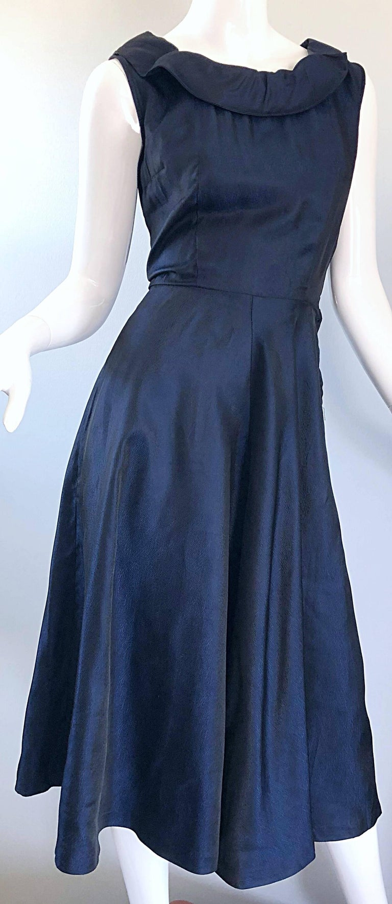 1950s Navy Midnight Blue Fit n ' Flare Vintage 50s Demi Couture Silk Dress For Sale 3