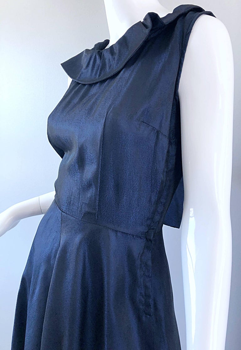 1950s Navy Midnight Blue Fit n ' Flare Vintage 50s Demi Couture Silk Dress For Sale 4