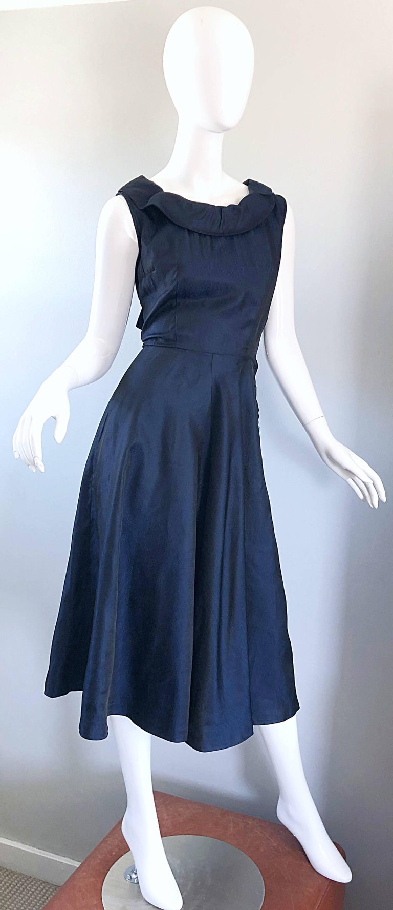 1950s Navy Midnight Blue Fit n ' Flare Vintage 50s Demi Couture Silk Dress For Sale 5