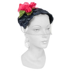1950s Navy Raffia Hat With Silk and Velvet Rose