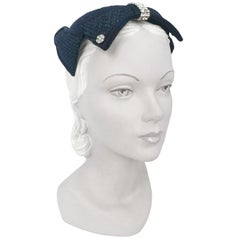 1950s Navy Woven Raffia Cocktail Hat With Bow and Rhinestone Accents