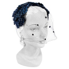 1950s Navy Woven Raffia Cocktail Hat with Veil