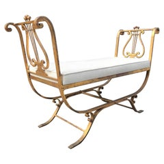 1950s Neoclassical Style Gold Gilt Iron Bench