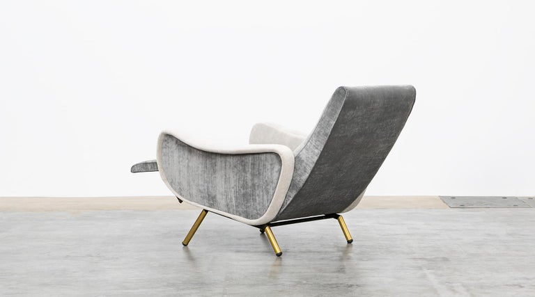 1950s New Upholstery in Grey, Brass Legs, Pair of Lounge Chairs by Marco Zanuso For Sale 3