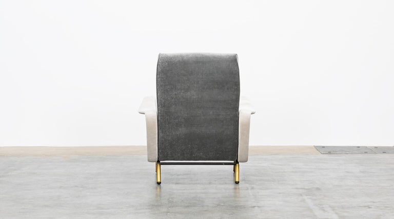1950s New Upholstery in Grey, Brass Legs, Pair of Lounge Chairs by Marco Zanuso For Sale 4