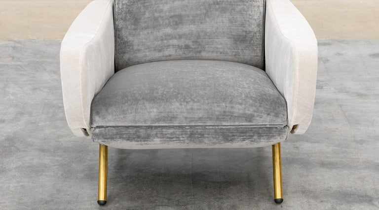1950s New Upholstery in Grey, Brass Legs, Pair of Lounge Chairs by Marco Zanuso For Sale 5