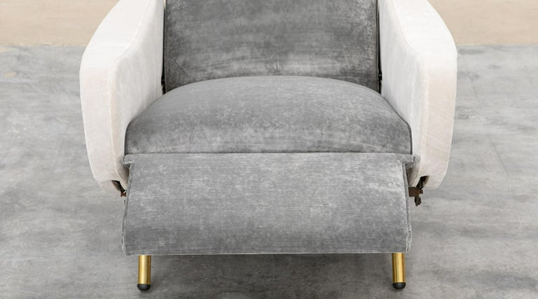1950s New Upholstery in Grey, Brass Legs, Pair of Lounge Chairs by Marco Zanuso For Sale 6