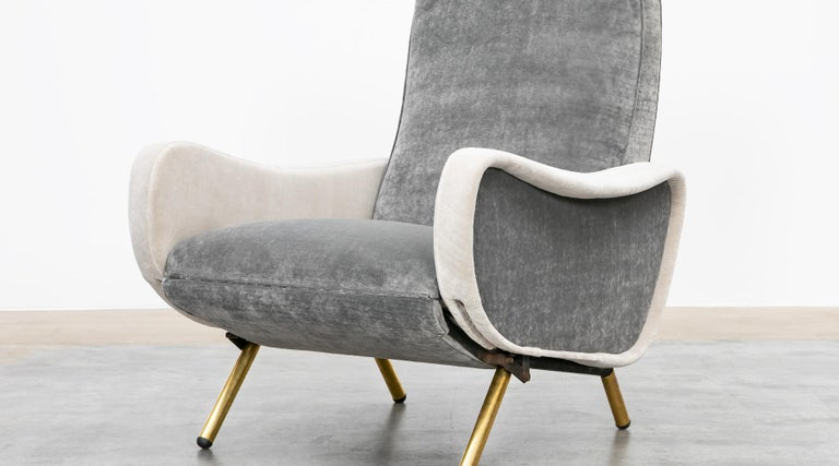 1950s New Upholstery in Grey, Brass Legs, Pair of Lounge Chairs by Marco Zanuso For Sale 7