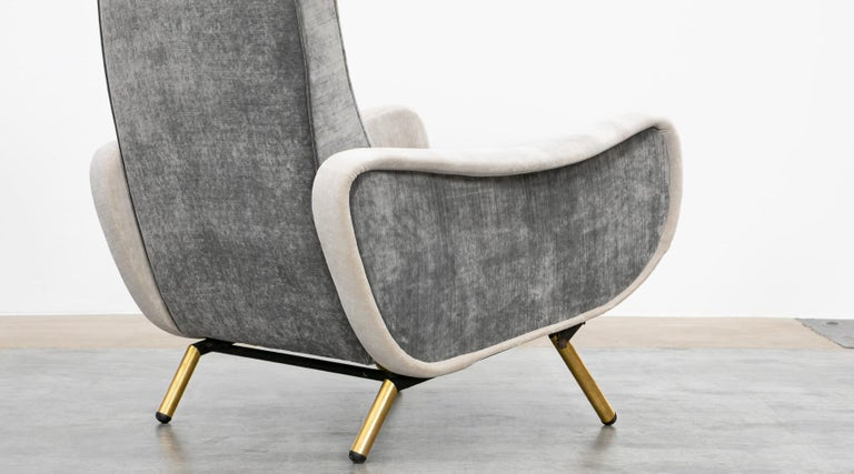 1950s New Upholstery in Grey, Brass Legs, Pair of Lounge Chairs by Marco Zanuso For Sale 9