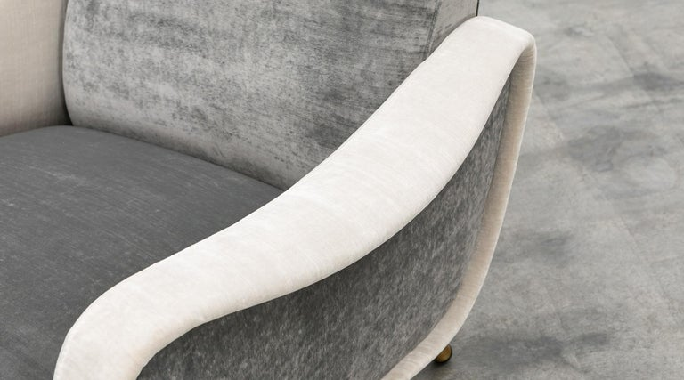 1950s New Upholstery in Grey, Brass Legs, Pair of Lounge Chairs by Marco Zanuso For Sale 10
