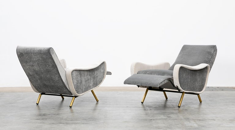 Mid-Century Modern 1950s New Upholstery in Grey, Brass Legs, Pair of Lounge Chairs by Marco Zanuso For Sale