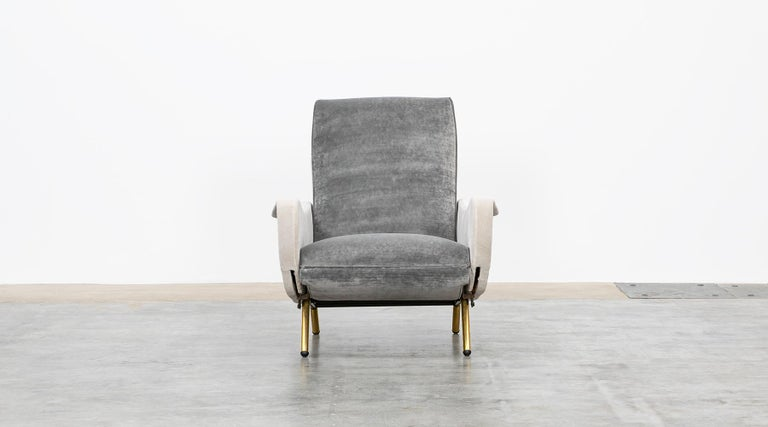 Italian 1950s New Upholstery in Grey, Brass Legs, Pair of Lounge Chairs by Marco Zanuso For Sale