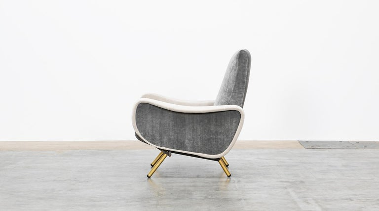 Fabric 1950s New Upholstery in Grey, Brass Legs, Pair of Lounge Chairs by Marco Zanuso For Sale