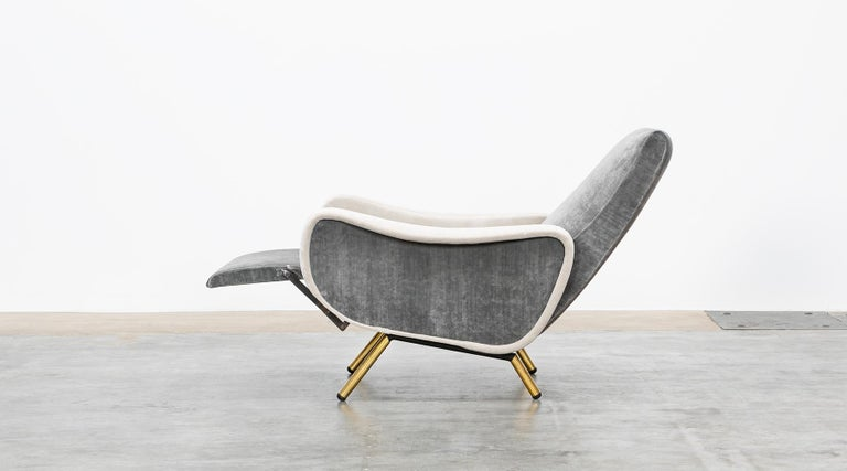 1950s New Upholstery in Grey, Brass Legs, Pair of Lounge Chairs by Marco Zanuso For Sale 1