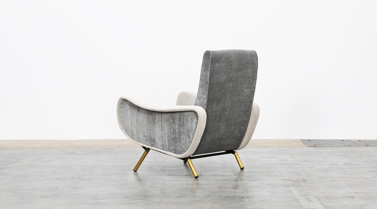 1950s New Upholstery in Grey, Brass Legs, Pair of Lounge Chairs by Marco Zanuso For Sale 2
