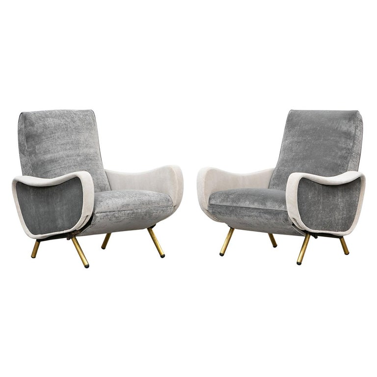 1950s New Upholstery in Grey, Brass Legs, Pair of Lounge Chairs by Marco Zanuso For Sale