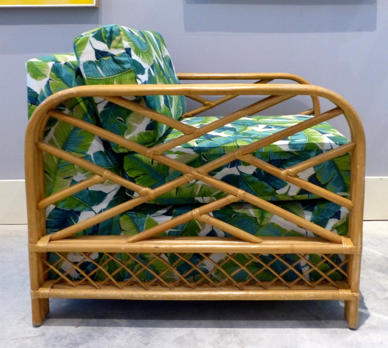 Newly Upholstered Vintage Tropical Modern Rattan Lounge Chair For Sale Stdibs