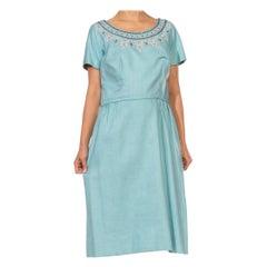 1950S NICHOLAS UNGAR Light Blue Linen White & Red Beaded Embroidered Dress