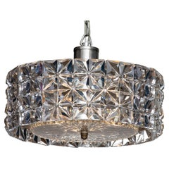 1950's Nickel and Two Tier Faceted Crystal Chandelier by Kinkeldey, Germany