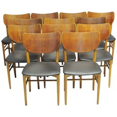 1950s Niels and Eva Koppel Twelve Danish Dining Chairs by Slagelse Møbelfabrik