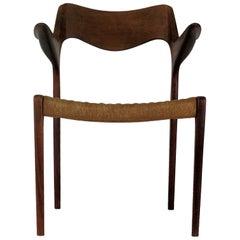 Niels Ottto Møller Refinished Armchair in Teak, Inc. Reupholstery