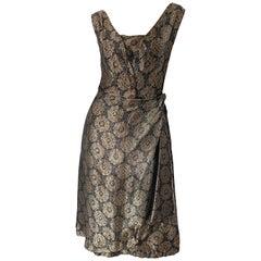 1950s Nina Ricci Couture Brown + Black Medallion Print Silk Vintage 50s Dress